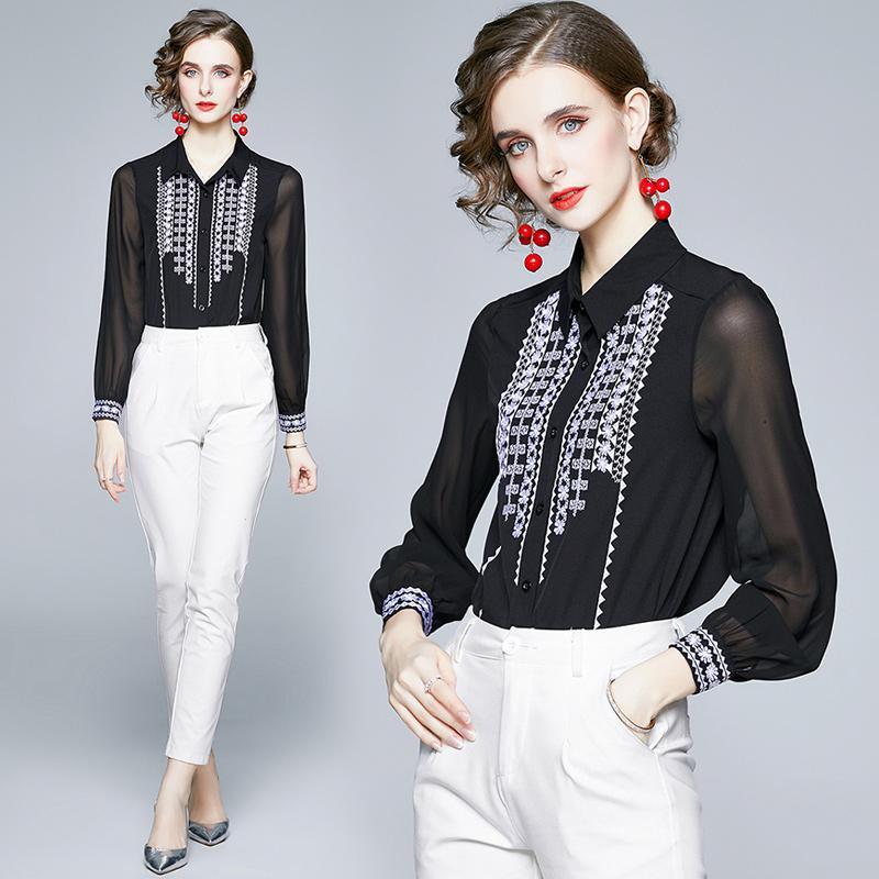 2021 아름다운 여성 자수 셔츠 활주로 패션 디자이너 숙녀 버튼 긴 소매 쉬폰 블라우스 캐주얼 사무실 봄 여름에 대 한 우아한 섹시한 검은 올 탑