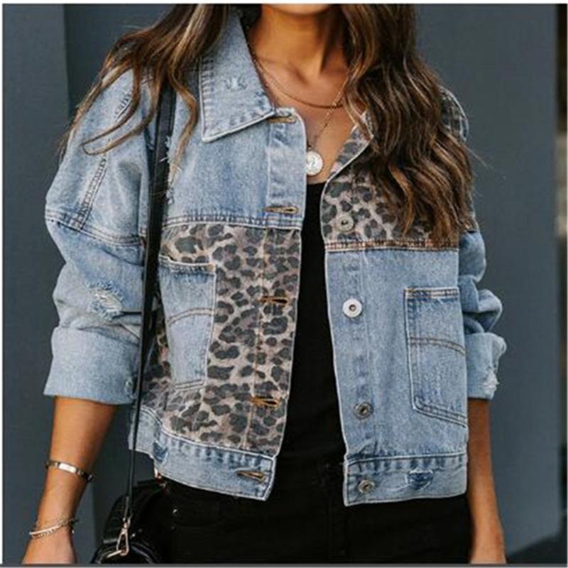 Весна осень джинсовая куртка женщин с длинными рукавами европейское американское пальто леопарда шить верхнюю одежду женские куртки