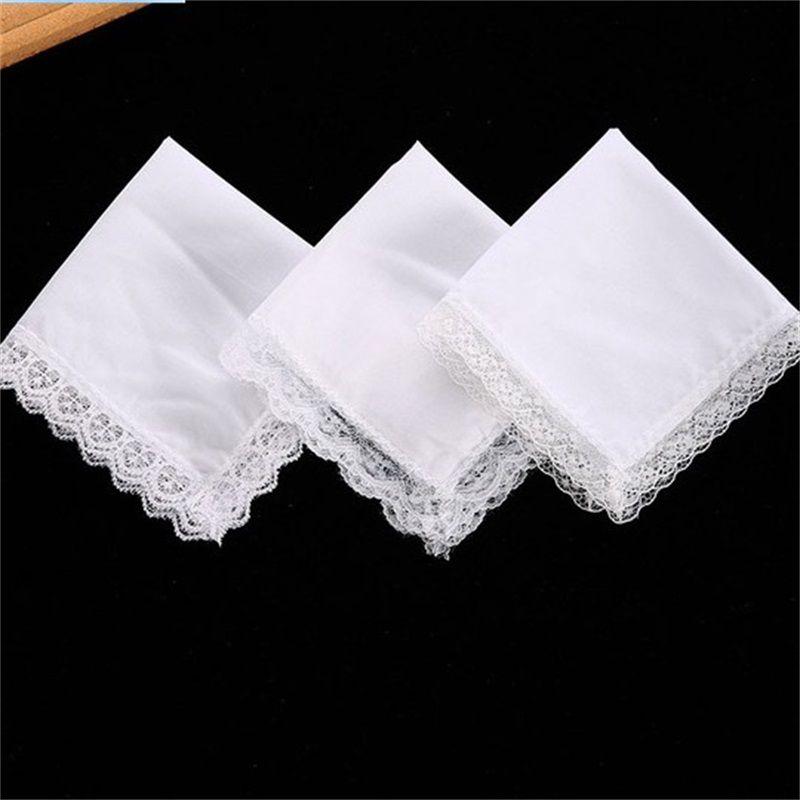 25 cm weiße spitze dünn handherchief baumwolltuch frau hochzeitsgeschenk party dekoration tuch serviette diy leere gwa6062