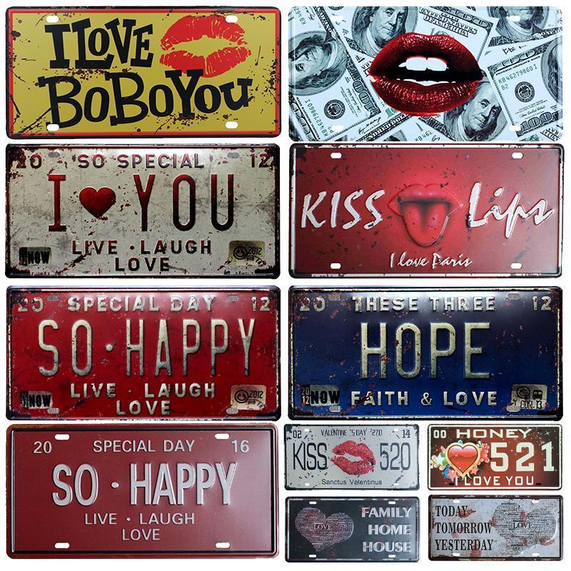 2021 Happy Life Plaque d'immatriculation de la vie Plaque de peinture en métal Bar mur Décoration de mur Panneaux d'étain Vintage lettre familiale imprimée Maison de la maison Décor Plaques Art Affiche Taille 30x15cm