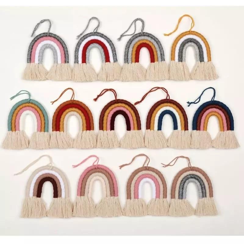 Macrame Rainbow Wall Parete Appeso Decorativo colorato giocattolo per Boho Home Decor, forniture per feste, Acquazzone, Ambiente Dormitorio Dormitorio Decor 2238 V2