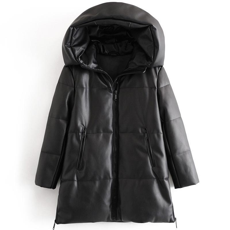 Katara 겨울 간단한 파카 여성 패션 후드 롱 코트 우아한 지퍼 PU 가죽 느슨한 면화 자켓 여성 숙녀 여성 숙녀 여성