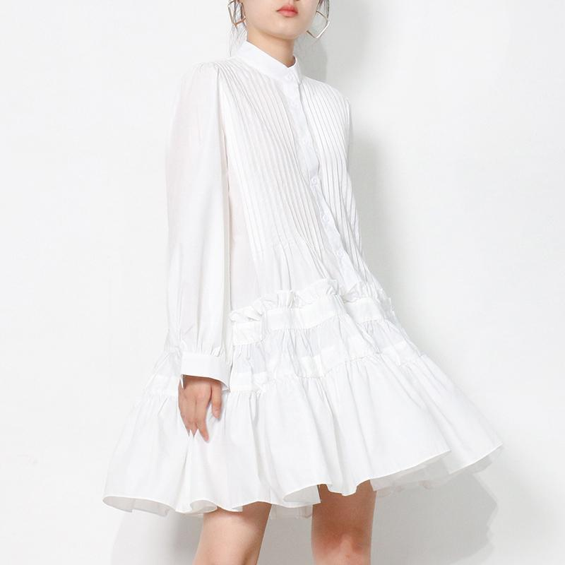 Casual Dresses Loose For Women Stand Collar Long Sleeve Female Pleated White Shirt Dress Fashion Clothing