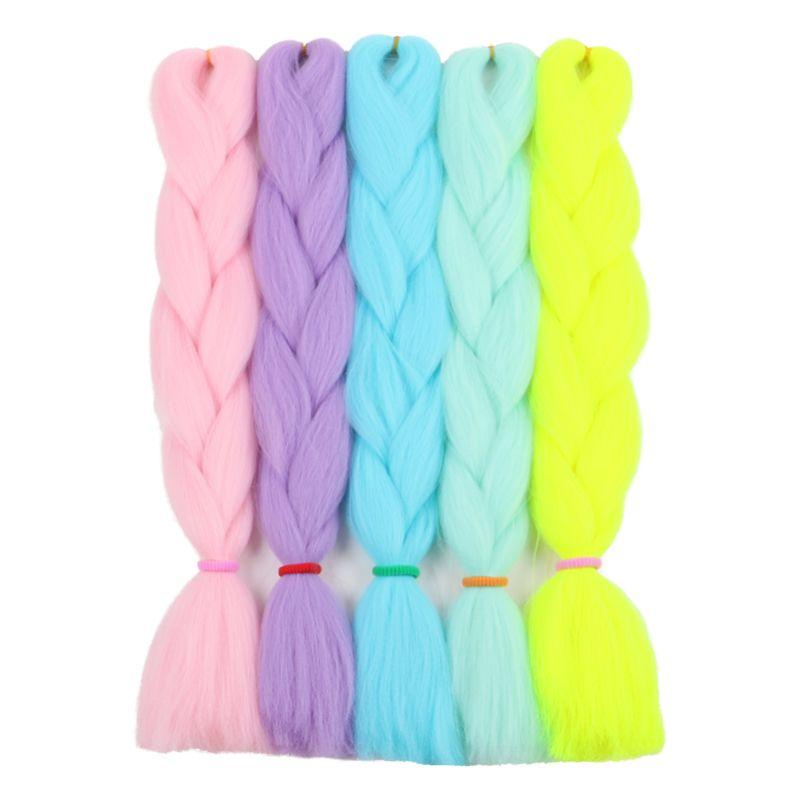 24 дюйма 100 г Светящиеся синтетические плетеные наращивания волос, сияющие в тьме джамбо оплетки