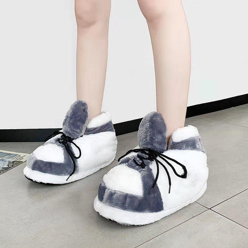 Pantofole da sneaker per interni invernali Casa unisex Casa calda e confortevole Scarpe da donna Designer di lusso Stampa Diapositive Soft Sapatos Femminino