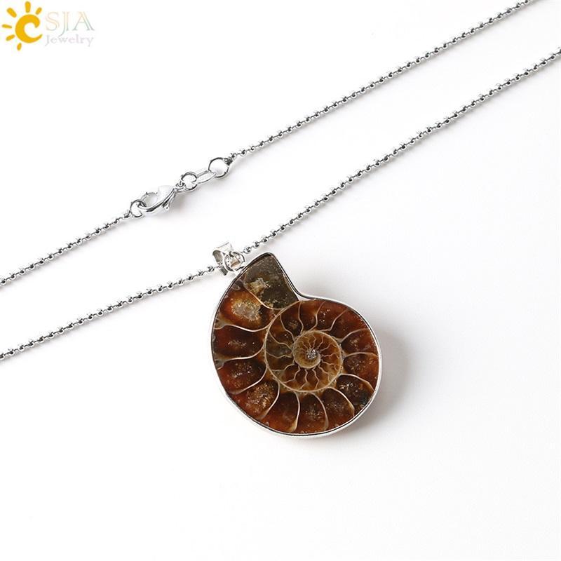 CSJA Natural Stones Pingentes Amonite Fóssils Seashell Snail Oceano Reliquiae Conch Declaração de Colar Animal Homens Jóias 1668 V2