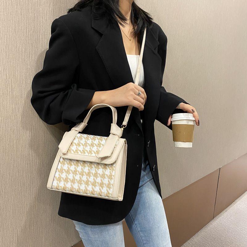 Bolsa de billetera Bolsa de mujer Versátil Bordado Línea Portátil Pequeña Moda simple Un Hombro Messenger Square
