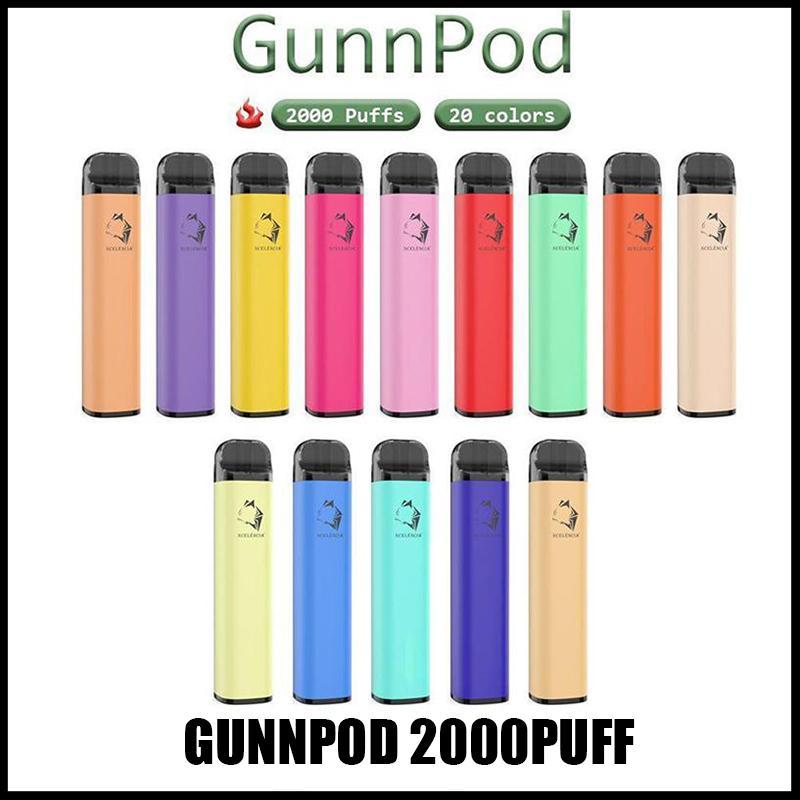 gunnpod 일회용 전자 담배 장치 키트 2000 퍼프 1250mAh 배터리 미리 페로 된 8ml 포드 스틱 vape 펜 도매 20 색 VS 바 플러스 맥스 무료 UPS