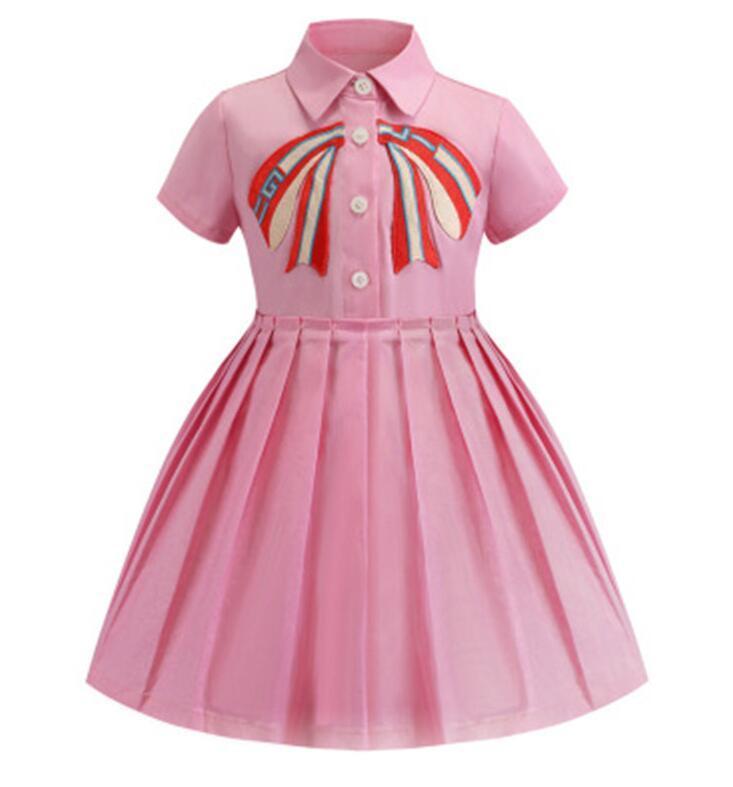 Designer roupas menina vestido verão toddler sem mangas algodão bebê crianças grandes arco xadrez multi cores