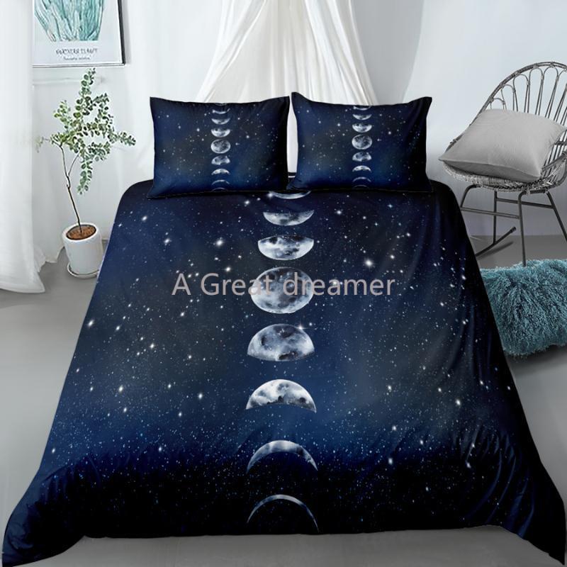 Подвесные комплекты дизайн луны Eclipse Star Set созвездие одеяло чехол король королева двойной размер роскошные постельное белье подушка