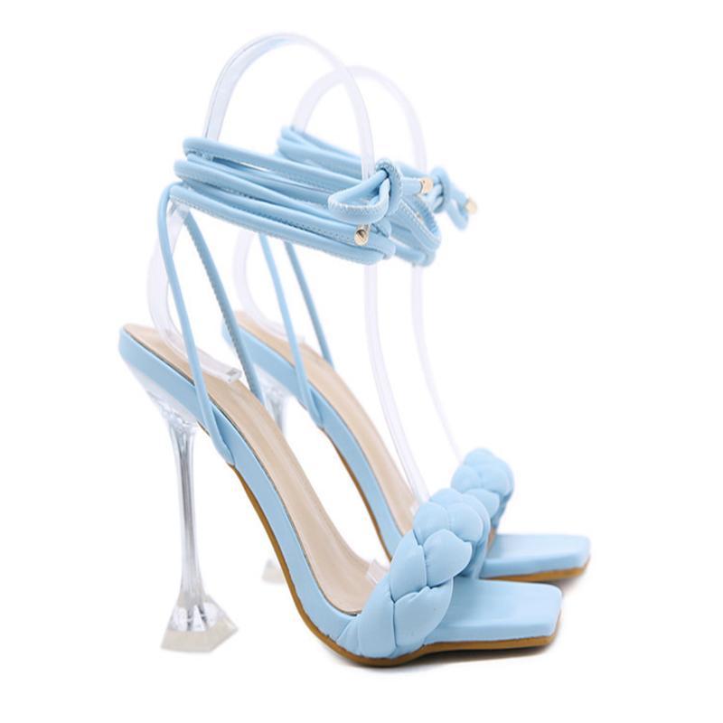 الصيف تصميم الأزياء نسج النساء الصنادل الشفافة غريب عالية الكعب السيدات المفتوحة تو أحذية اللباس