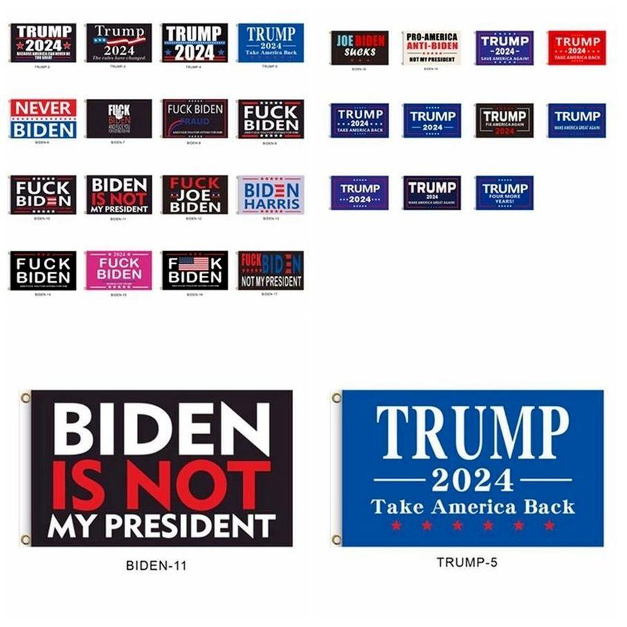 2024 Trump Flag Biden não é meu presidente 90 * 150 cm EUA eleição presidencial 27 estilos banners