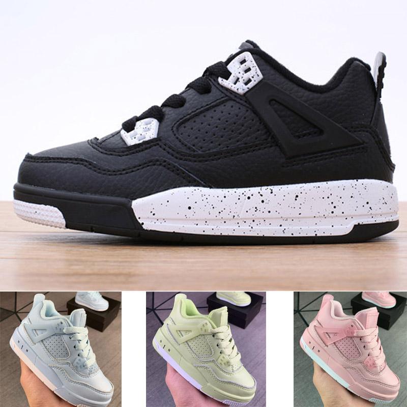 Crianças 4 sapatos de basquete menino menina juventude esporte botas sneaker tamanho 28-35