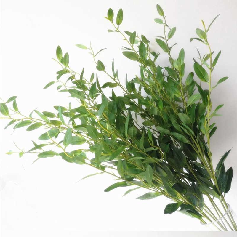 10pcs 올리브 트리 분기 줄기 인공 녹색 빨간 잎 줄기 가짜 녹색 식물 단풍