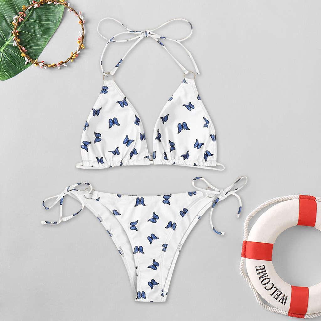 Alta cintura de dos piezas bikini mujeres mariposa estampado de mariposa traje de baño verano traje de baño push-up acolchado acolchado barriga damas ropa de playa
