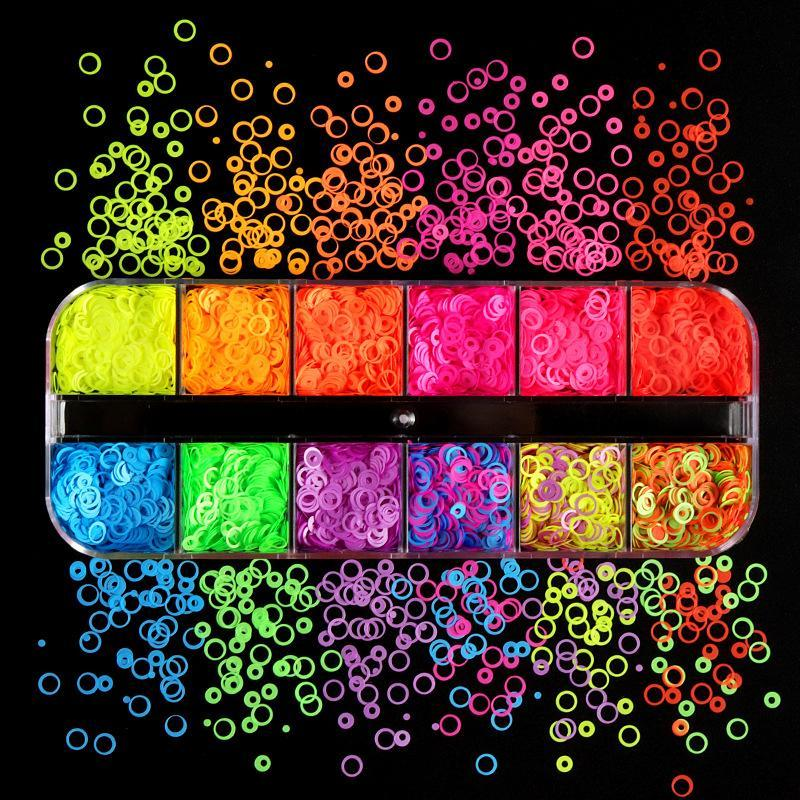 Nail Art Decorations 12 Grids Fluorescence Hollow Circle Sequins Neon Round Glitter Flakes 3D DIY Colorful Slice