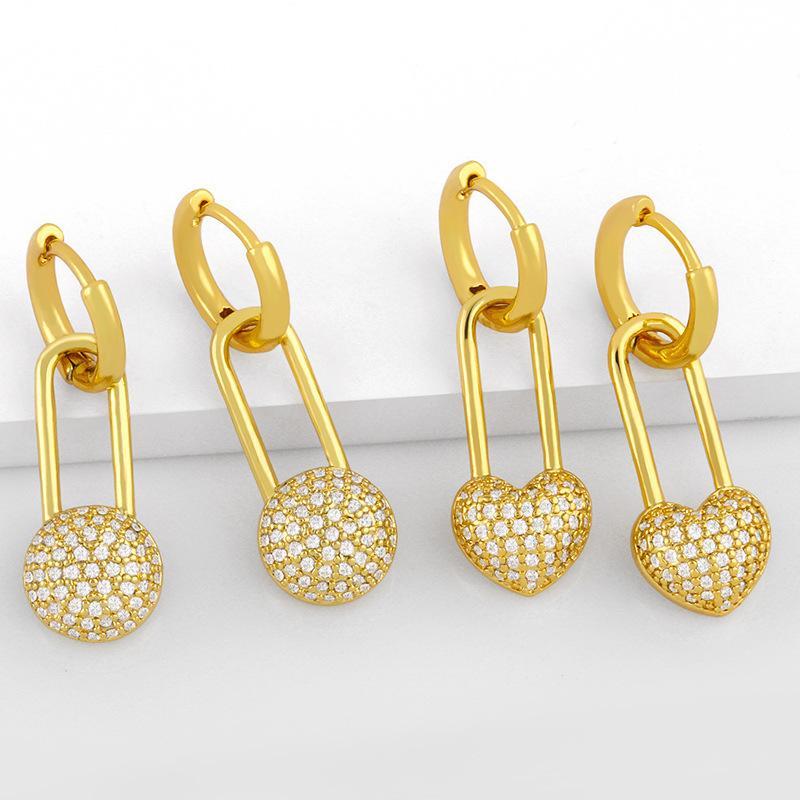 디자이너 쥬얼리 성격 간단한 핀 여성 기하학적 복숭아 심장 사랑 패션 귀걸이