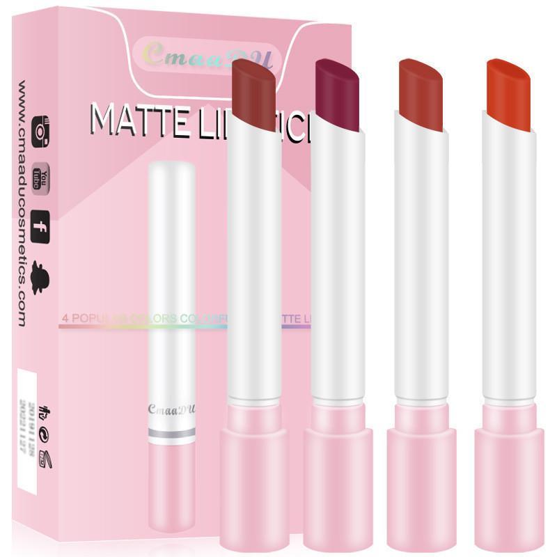 Cmaadu 4 couleurs mate longue durée de cigarette étanche de rouge à lèvres de rouge à lèvres de brouillard Sexy Rouge à lèvres nus Set Maquillaje Batom Lip Kit 2 Styles