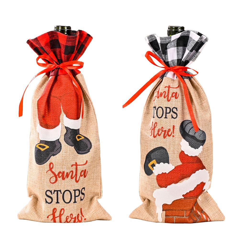 크리스마스 샴페인 와인 병 커버 산타 클로스 선물 가방 크리스마스 새해 장식 저녁 식탁 장식품 XBJK2108