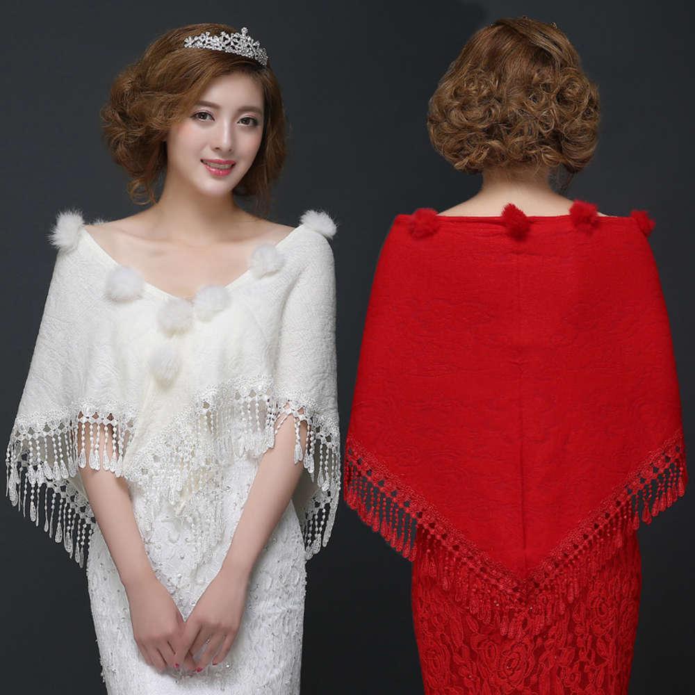 Écharpes de mariage de mariée foulard Cape Blanche rouge Rouge de demoiselle d'honneur de cheongsam avec châle de manteau de grande taille