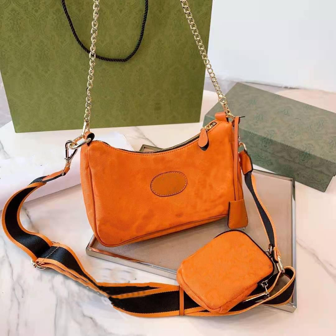 2 PEC Çapraz vücut çanta hobo çanta messenger omuz çantası fermuar bayan göğüs zincir kesesi kutusu ile yüksek kalite kutusu