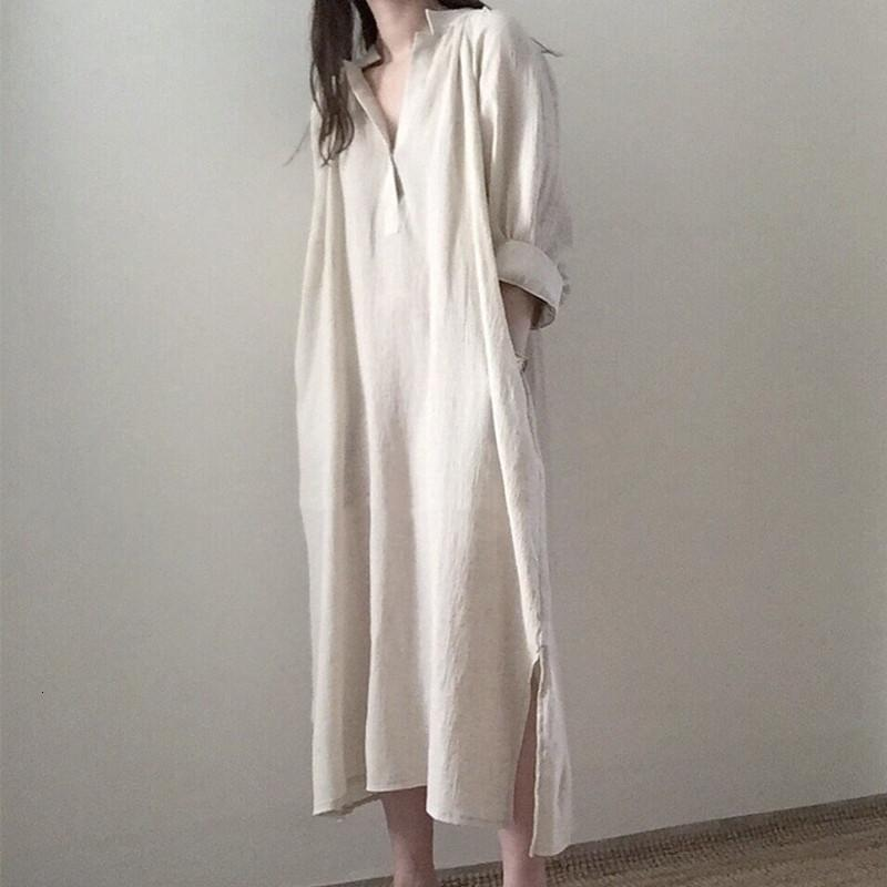 Casual Dresses Korea Design Preppy Style Fashion Shirts Cotton Linen Autumn Spring Summer Loose Lazy Chic Women Midi FCBZ
