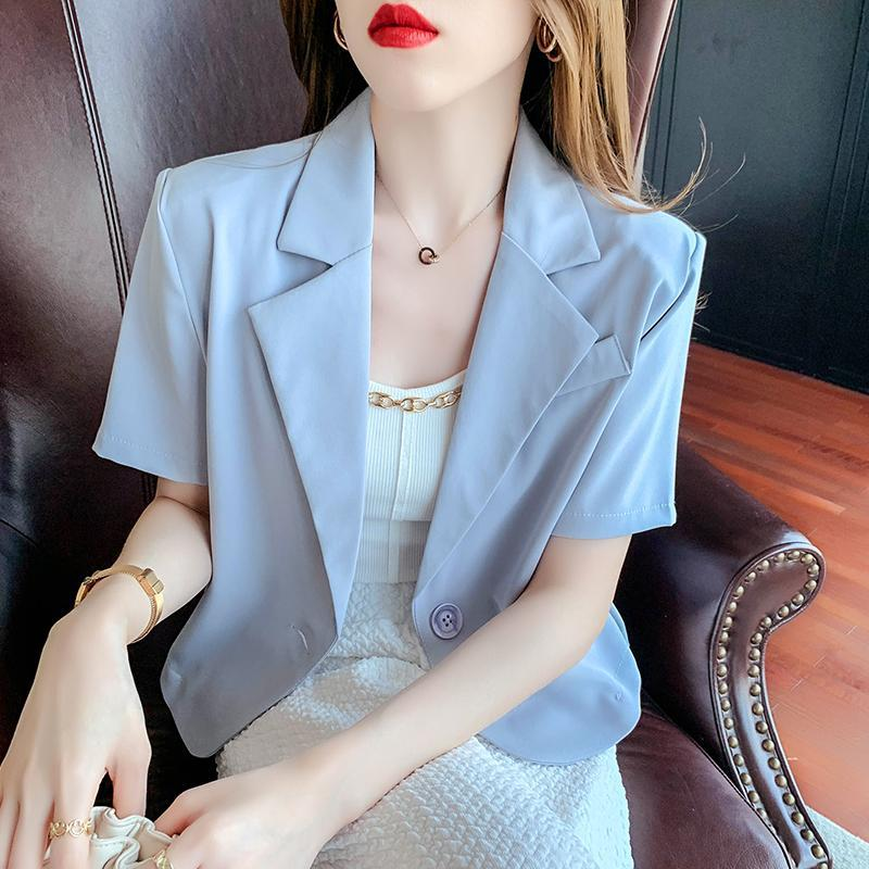 Frauen Blazers Crop Tops Single Breasted gekerbt Kurzarm Sommer Casual Outwear Mode Einfache Atmungsaktiv Koreanische Art Trendy