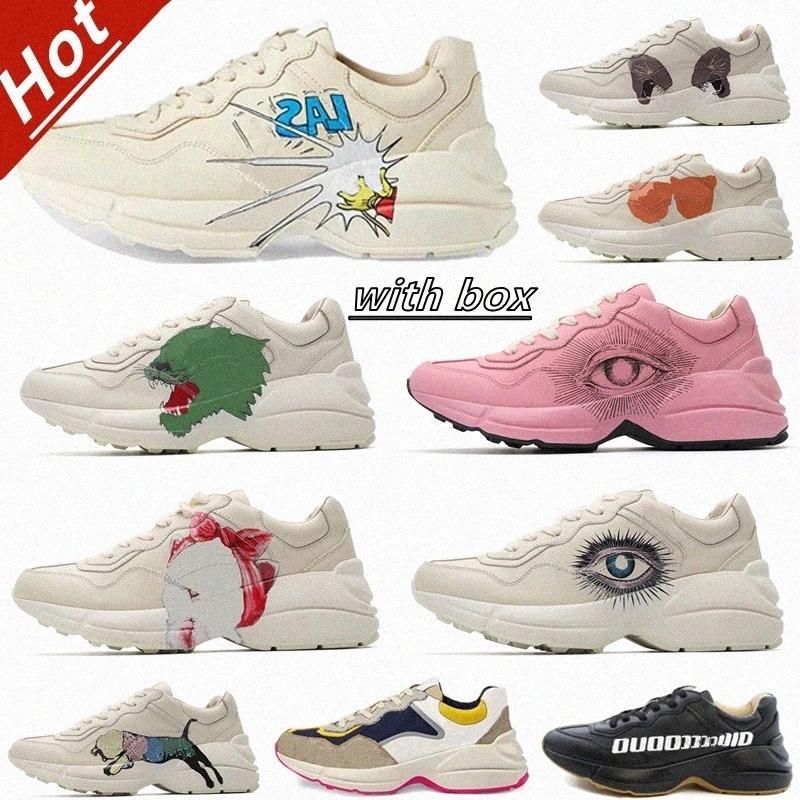 2021 Luxurys Rhyton Sneakers surdimensionnés Casual Heaten Plateforme Chaussures Mens Femme Classique Blanc Cuir Blanc Épais Semelle Vintage Trainer Dad Men Chaussure