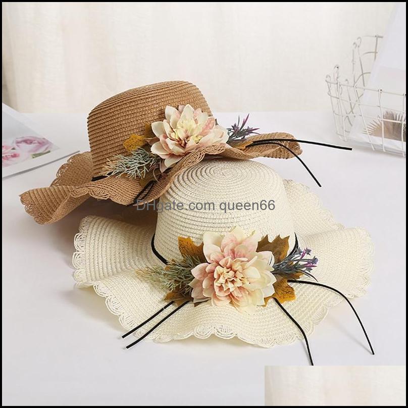 Chapeaux chapeaux, écharpes gants mode aessoriessummer femelle chapeau soleil chapeau fleur ruban Panama plage chapeaux pour femme sombrero floppy st large bord dr