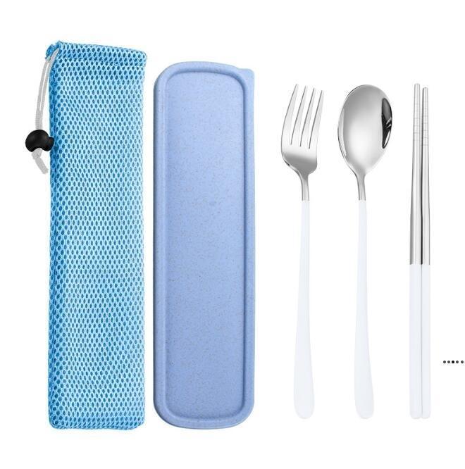 Vaisselle portable Set Cutlery Steel Steel Spoon Fork Cheveux Baguettes Vaisselle Box 3PCS Dîner Restaurant Outils de cuisine HWWE5263
