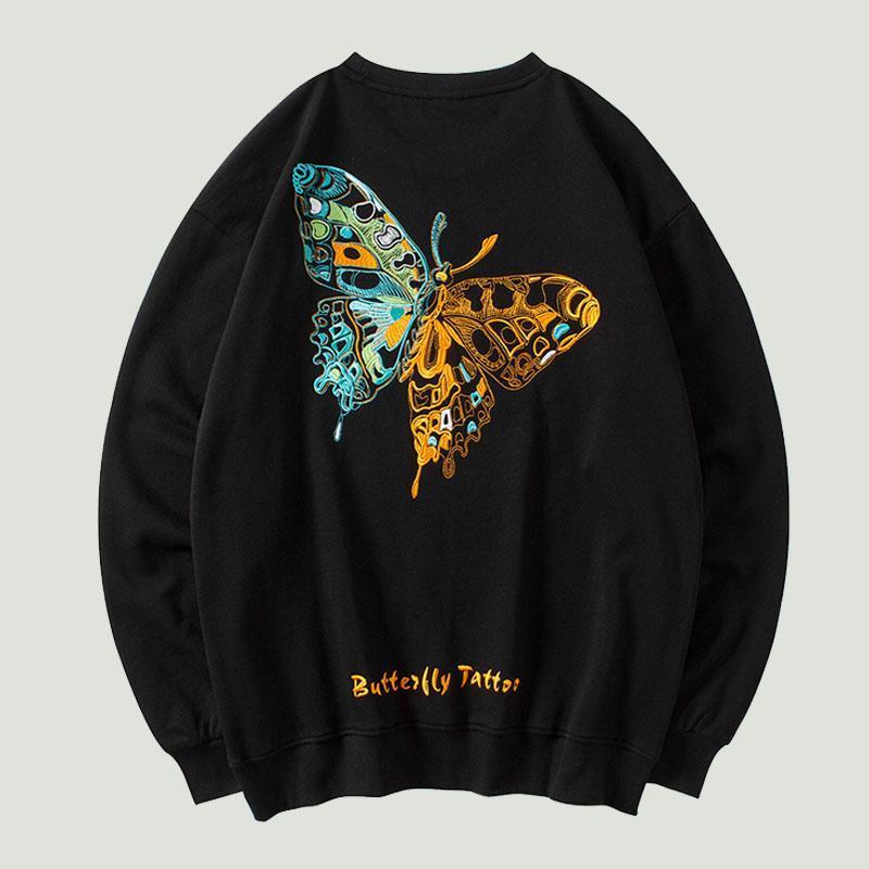 Felpe con cappuccio da uomo Felpe hip-hop ricamo farfalla pullover mens streetwear harajuku moda casual cotone di cotone superiori hipster superiore
