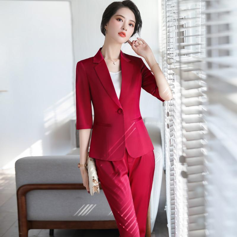 Women Suit Spring Summer Mid-Sleeve Slim Blazers Office Lady Fashion Work Business Casual Coat Pants Suits Clothes Women's &