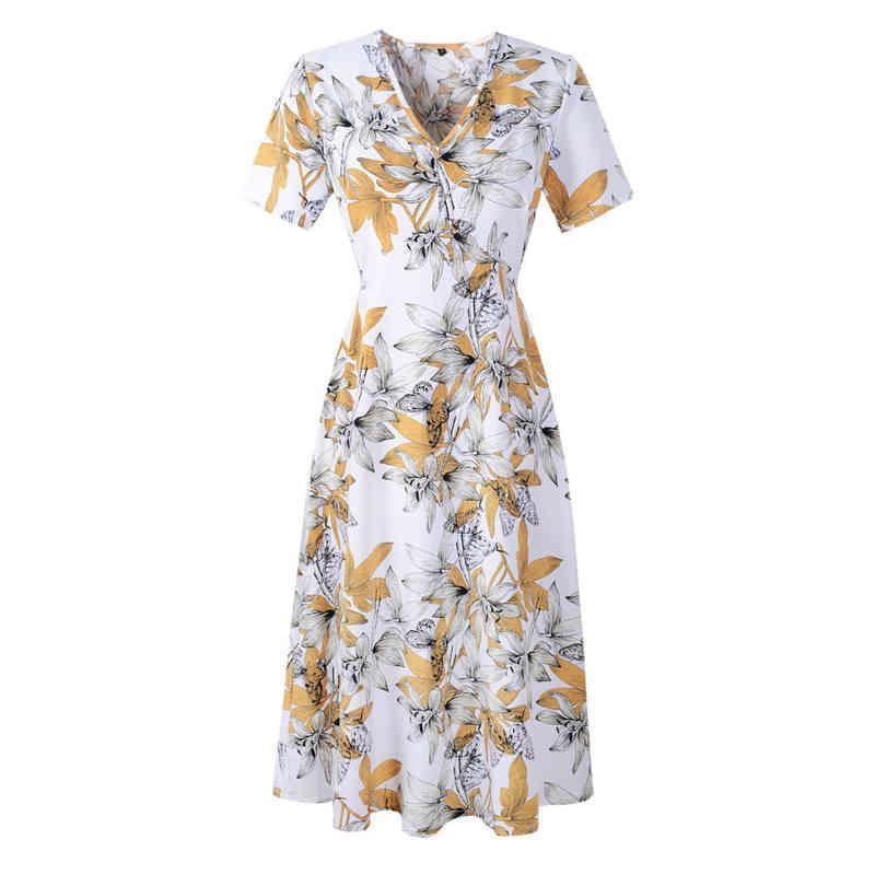 2021 Casual Elástico Cintura Boho Vestido de playa Ropa de verano para mujer Talla grande Impresión floral Vintage Chiffon Midi Vestido Vestido X0521