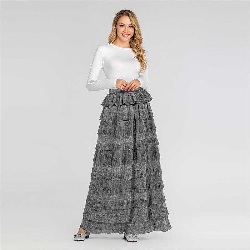 Плиссированные длинные юбки сезон весна лето фиксированная высокая талия длина лодыжки повседневная секнульная вечеринка женская одежда