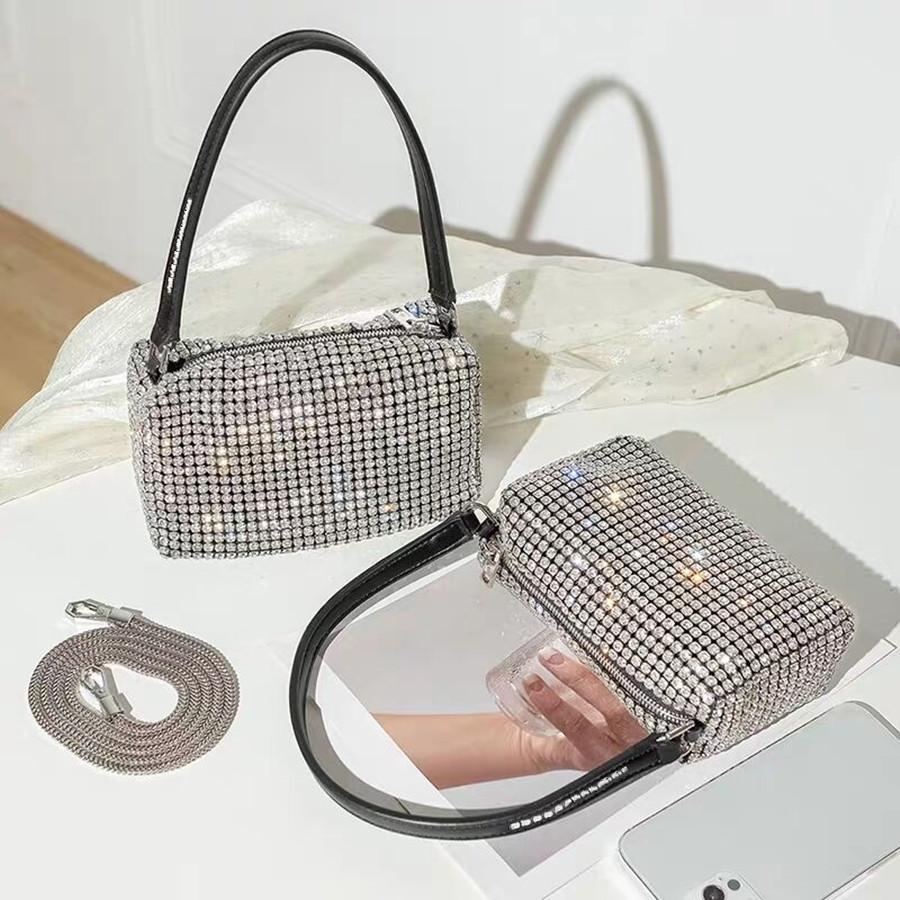 Mode Femmes Luxurys Designers Al Wang Sacs Sacs Strass Full Strass clignotant Bling Diamant Sac à main Sac à main Porter petit sac carré