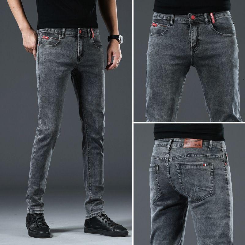 Nuevos jeans coreanos en primavera y verano 2021 Leggings elásticos delgados delgados de los jóvenes Trend Jeans Versátiles Pantalones para hombres
