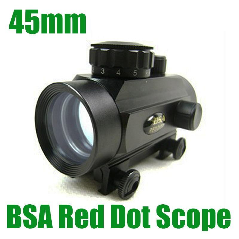 BSA 45mm 빨강 및 녹색 도트 사냥 라이플 스코프 1x45 시력 맞춤 20mm 위버 레일