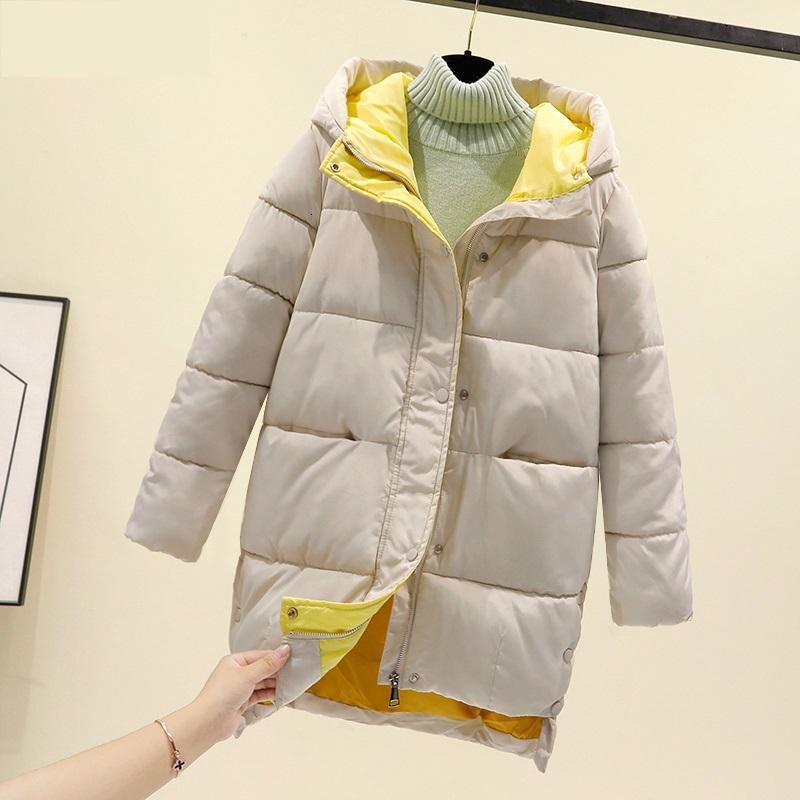 Mujer acolchada de algodón de gran tamaño de invierno con ropa exterior de chaqueta gruesa