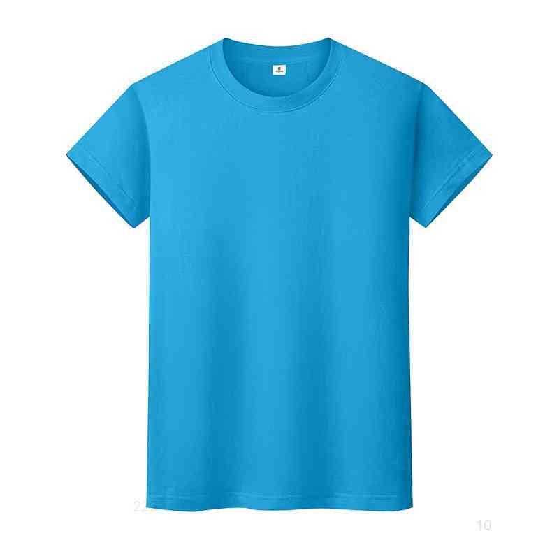 새로운 둥근 목 솔리드 컬러 티셔츠 여름 코튼 바닥 셔츠 반팔 망과 여성 반팔 Mo440zzai