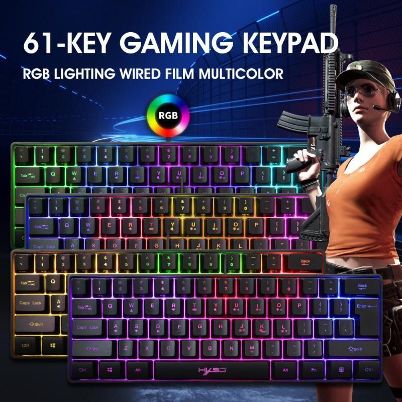 Clavier de jeu câblé rgb éclairage 61 touches mini multiples raccourci combinaisons claviers de jeu informatique imperméable