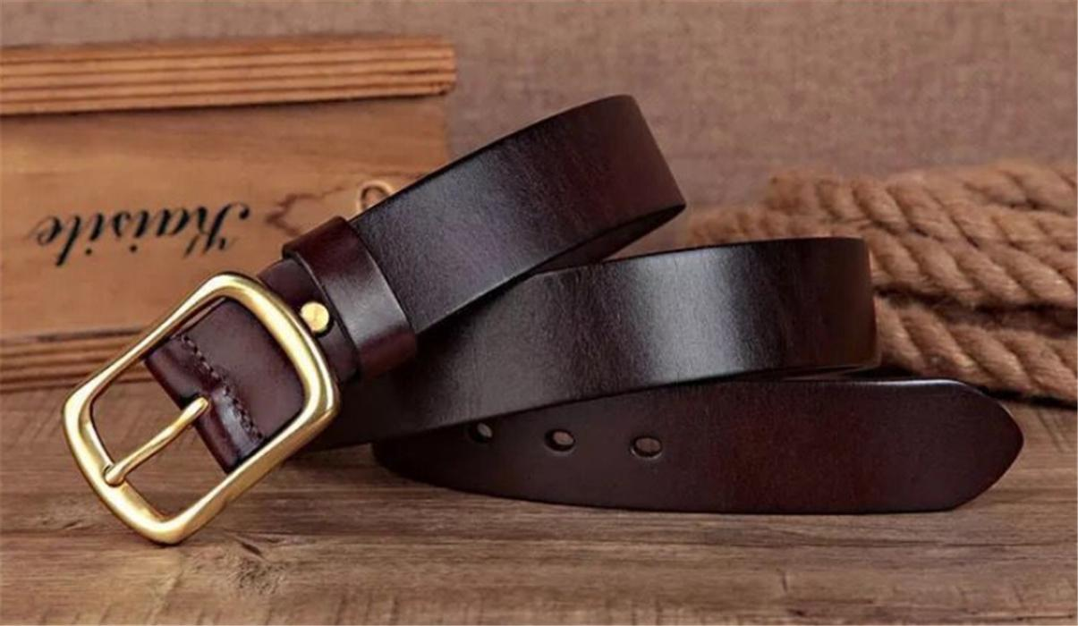 الجلود طبقة جلد البقر عارضة الرجال حزام جلد النحاس اليابانية مشبك حزام