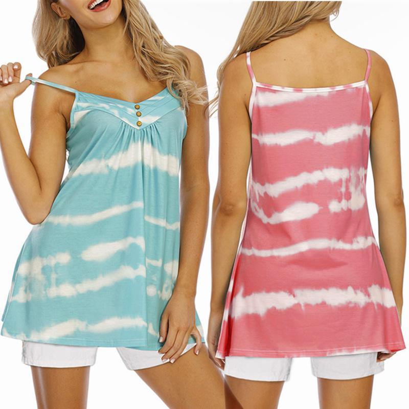 Tanques femininos camis 2021 mulheres laço de verão corante listrado camisole feminino botão v pescoço espaguete cintas colete grande tamanho sem mangas casual tan