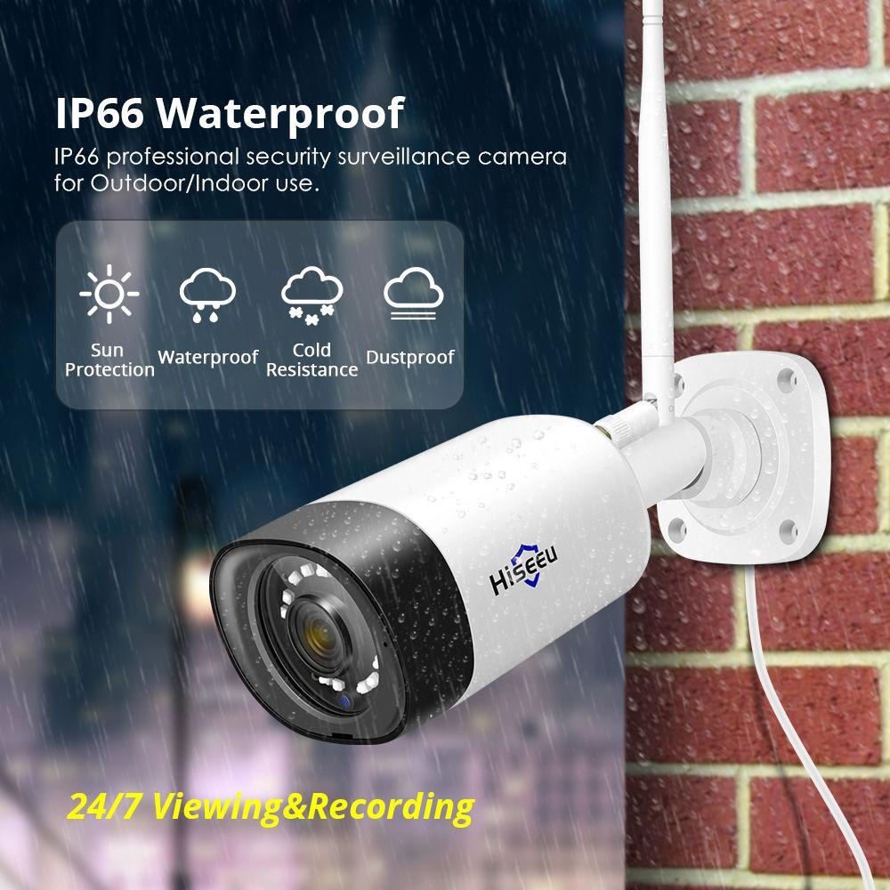 Hiseeu Wireless Outdoor IP Camera 1536P 1080P Impermeabile 3mp CCTV Security WiFi Audio P2P Bullt Hisee APP APP