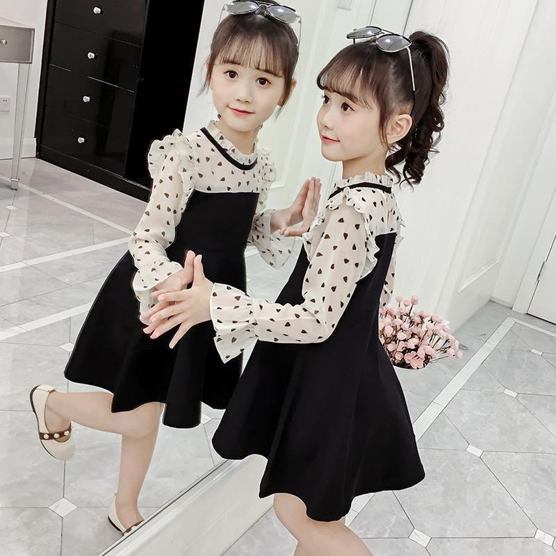 2021 New Girl's Autumn Dress Style Style Style Manica lunga Gonna principessa