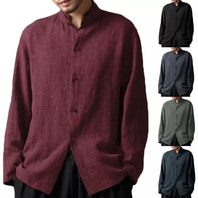 캐주얼 남성 셔츠 치 린넨 중국 스타일 전통적인 톱 빈티지 플러스 사이즈 코트 스탠드 칼라 남성용 셔츠