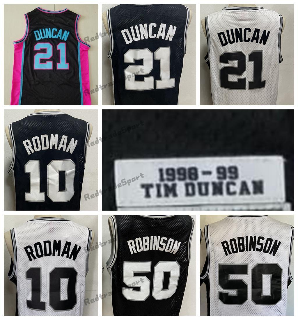 رجل خمر 1998-1999 تيم 21 duncans كرة السلة الفانيلة ديفيد 50 روبنسون دينيس 10 رودمان أسود مخيط قمصان S-XXL