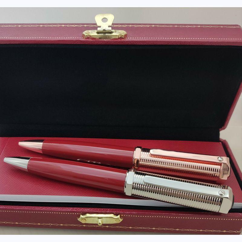 2021 bolígrafos de lujo Herramientas de escritura clásicas de alta calidad Concavo enrejado pluma pluma pluma gorro clip El buen regalo con la caja de buenos bolígrafos de la marca francesa