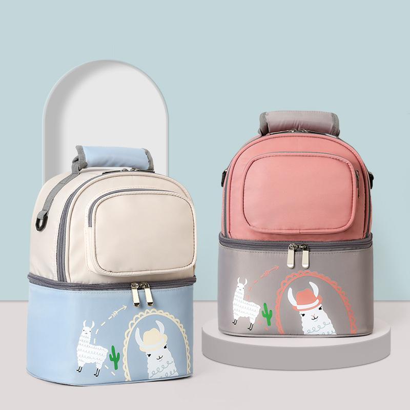 Dupla camada armazenamento saco térmico portátil garrafa bebê isolamento alimento almoço bolsa de almoço leite de leite preservação acessórios de mochila 210309