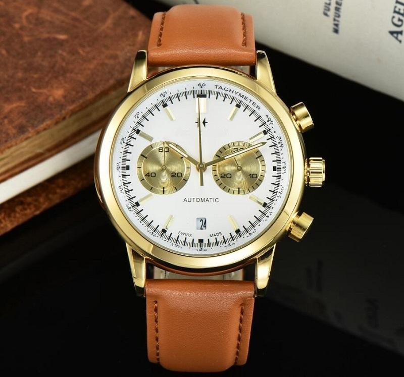 새로운 남성 시계 방수 쿼츠 남성 시계 크로노 그래프 스포츠 손목 시계 가죽 비즈니스 남성 시계 시계