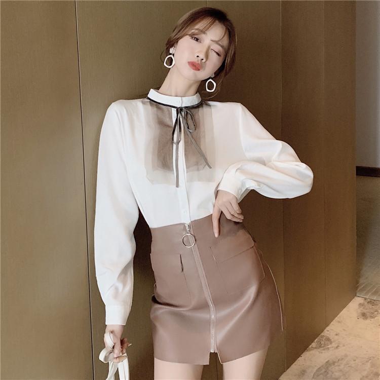 Camicie da donna Camicie Moda coreana Camisa Feminina Autunno Vintage O-Neck Manica Lunga Chic Pannelli in pizzo Pannelli a pizzo Ulzzang Chiffon Blusa Wome